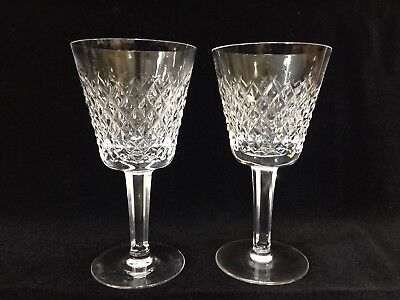 "Pair of Waterford Crystal Alana Pattern Claret Wine Goblets, 5 7/8"" Tall x 3"" W"