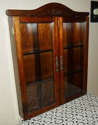 Vintage Wall Hanging All Wood Glass Door Curio Cabinet, Shadow Box