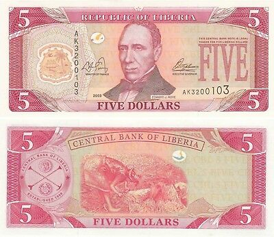 Liberia 5 Dollars (2003) - Coat of Arms/Rice Paddies/p26a UNC