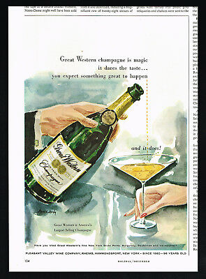 1956 Great Western Champagne Bottle Glass Hardy Art Vintage Print Ad