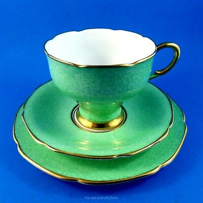 Emerald Green Tapered Paragon Tea Cup, Saucer and Plate Trio Set
