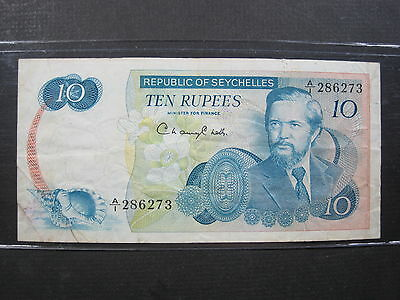 Seychelles 10 Rupees 1976 P19 #d Island Boat Beach World Banknote Paper Money