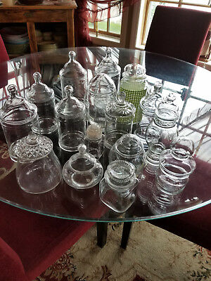 Huge Vintage Glass Apothecary Jar Lot ~ 16 Jars