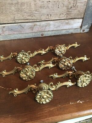 Vintage 1960 Lot of 6 Stamped Brass Flower Raised Cabinet Drawer Knobs Pulls #B