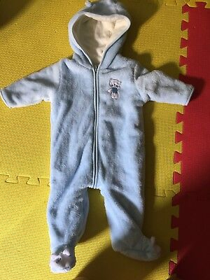 Infant Baby Boy Or Girl Hooded Bunting Snowsuit One Piece Blue 3-6 Months Warm