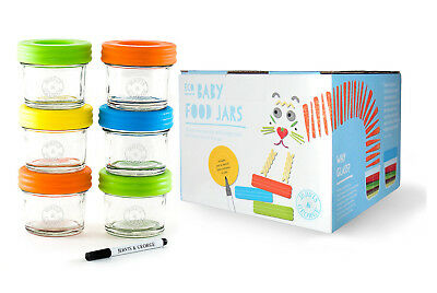 6*120ml Baby Glass Food Storage Container/Jar-Mwave/Freezer Safe + Portion Cntrl