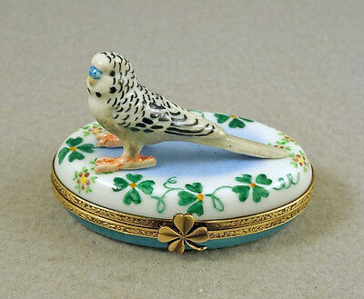 New French Limoges Trinket Box Parakeet Budgie Budgerigar On Clover Leaves