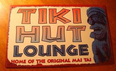 TIKI HUT LOUNGE HOME OF THE ORIGINAL MAI TAI Rustic Tropical Beach Bar Sign