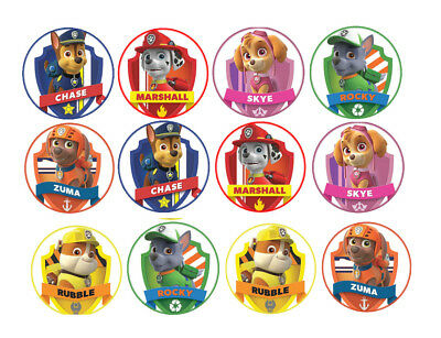 12x Paw Patrol Edible Wafer/Rice Cake Cupcake toppers Birthday party Decorations
