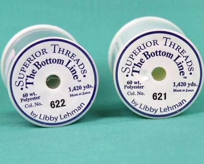 SUPERIOR THREAD - THE BOTTOM LINE POLYESTER - 621 Lace White & 622 Gray