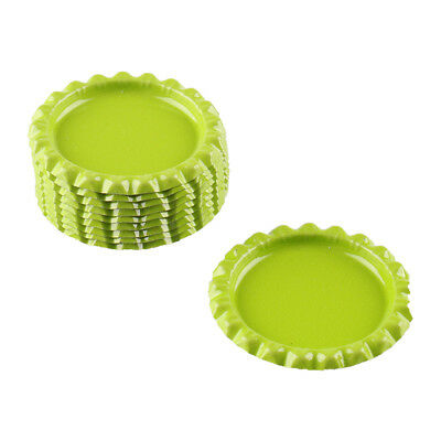 """10pcs Light Green Flat Double Sided Colored 1"""" Bottle Caps Scrapbooking DIY"""