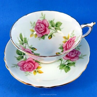 Pretty Pink Roses on Pale Blue Background Paragon Tea Cup and Saucer Set