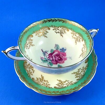 Pink Rose Center with Green Edge Paragon Double Handle Soup Cup