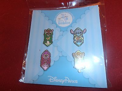 4 Disney Pins HKDL Disney Babies.  Booster Set As seen New on Cards lot pb