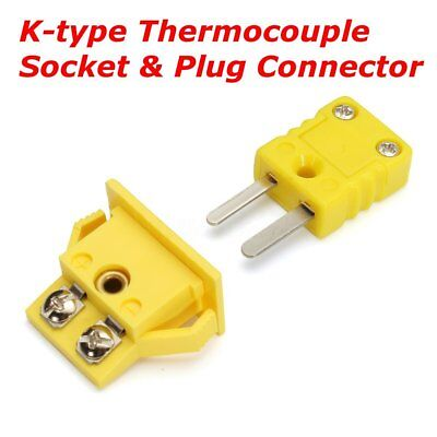 Yellow Plastic Shell K Type Panel Mount Thermocouple Socket & Plug Connector Set