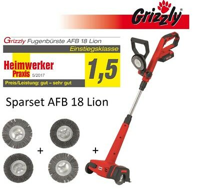 Grizzly Battery Broom Brush AFB 18 Lion Set with 2 zusätlichen Grout Cleaner