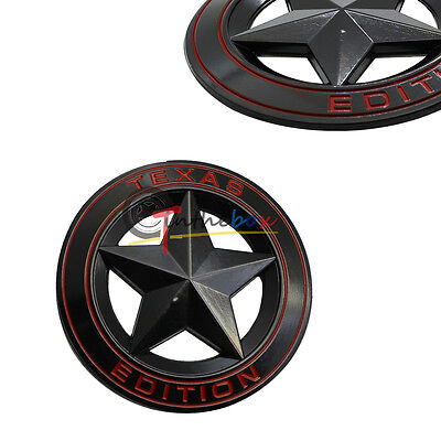 (1) Black Metal 3D Texas Edition Rear Emblem Badges For Ford F-250 F-350, etc