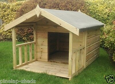 Dog Kennel with Veranda Quality Tanalised Wooden Yard Kennel Pressure Treated
