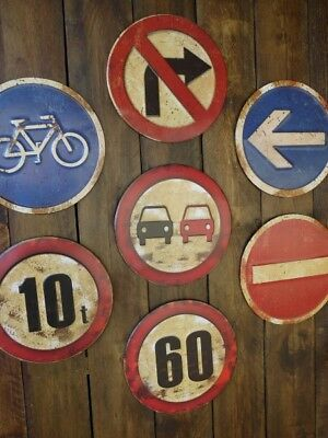 Retro Embossed Metal Road Signs Wall Plaque