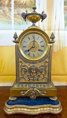 Antique 19th c French solid gilt 2 tone bronze mantle clock by Archilles Brocot