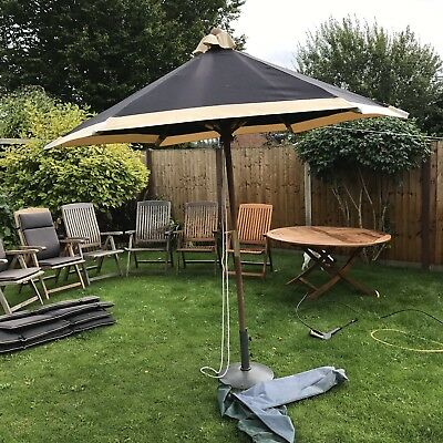 Sterling Teak Garden Table and 6 Chairs With Seat Pads and Parasol