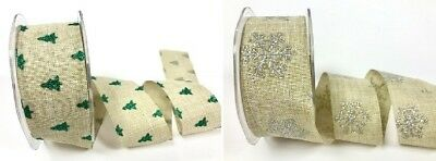 Bertie's Bows 38mm Christmas Glitter Ribbon - per metre or on a 20m roll