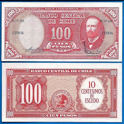 Chile P-127 10 Centesimos on 100 Pesos Year 1960-61 Uncirculated FREE SHIPPING