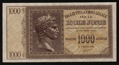 1000 Dracme From Greece Italy Isole Jonie Rare Quality Unc M