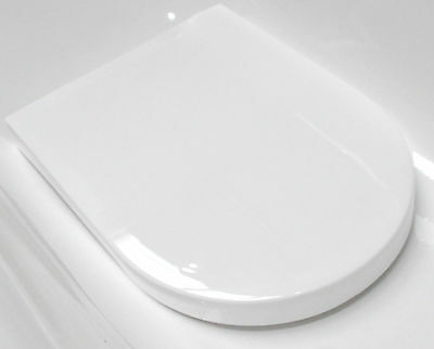 Worlds Cheapest D Shaped Soft Closing WC Toilet Seat White Plastic Replacement