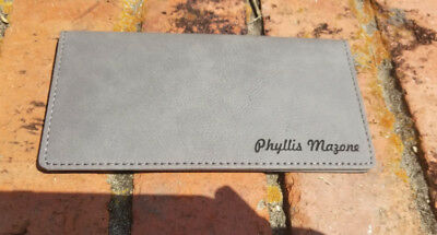Personalized Gray Leather Checkbook Cover