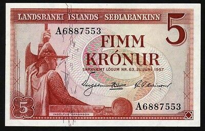 5 Kronur From Iceland 1957 M Unc