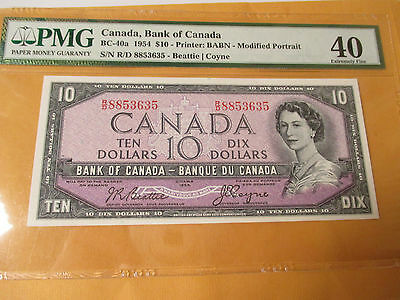 1954 $10 Bank Of Canada Modified Portrait Pmg Extremely Fine 40 Looks Au+