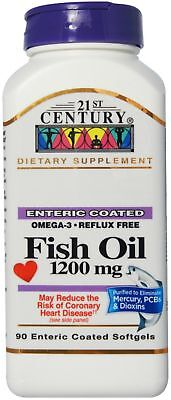 21st Century Fish Oil, 1200mg, Enteric Coated Softgels 90 ea