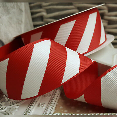 38mm Christmas Candy Cane Stripe Ribbon Red and White cake Xmas Tree Gift Stripe