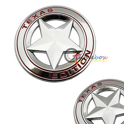 (1) Silve Metal 3D Texas Edition Rear Emblem Badges For Ford F-250 F-350, etc