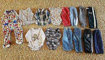 Lot 14 Baby Boy Clothes 9-12 Months Fall Winter Shirt Pants Outfits Long Sleeve