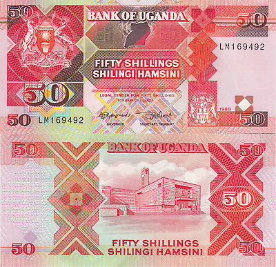 Uganda 50 Shillings (1989) - Central Bank/Coat of Arms/p30 UNC