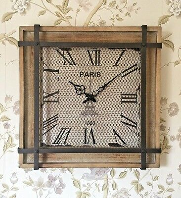 Large Industrial Square Paris Wall Clock French Rustic Wood Metal Vintage Style