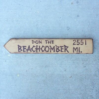 Don the Beachcomber Tiki Bar Directional Arrow Sign Hawaii California Room Decor