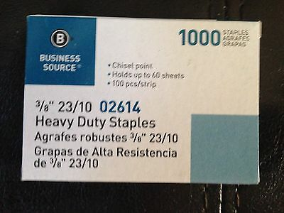 "Business Source 3/8"" Heavy Duty Staples 1000 Count 60 Sheet 100 per strip 23/10"