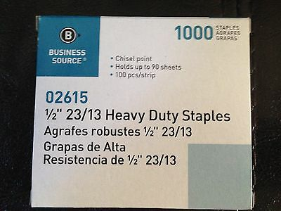 "Business Source 1/2"" Heavy Duty Staples 1000 Count 90 Sheet 100 per strip 23/13"
