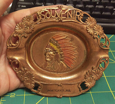Portland ME Metal Souvenir Ashtray made in Japan - Great Copper colored ashtray