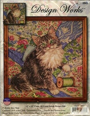 Cat on Quilt Counted Cross Stitch Kit Jenny Alderton Design Works NEW kitty folk