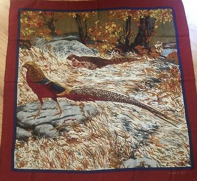 "Vintage Scarf Perry Ellis  ,very Rare Design Pheasant,signed 34"" x 34"""