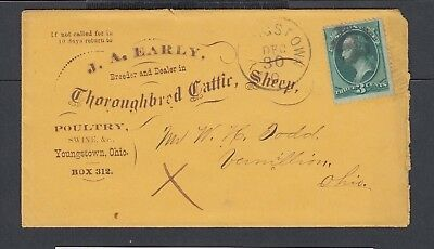 Usa 1872 Thoroughbred Cattle & Sheep Advertising Cover Letter & Card Ohio