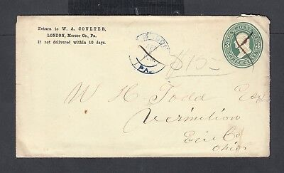 Usa 1876 Coulter Dry Goods & Groceries Advertising Letterhead & Cover London Pa
