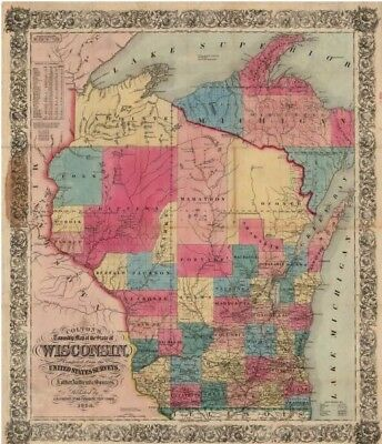 1854 Colton's Township Map of Wisconsin -- Reproduction