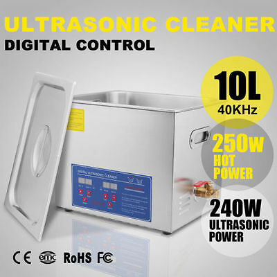 New 10L Stainless Steel Industrial Heated Ultrasonic Cleaner Heater w/Timer CAN!