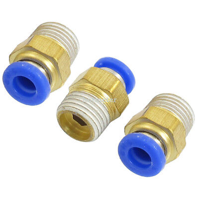 "3 Pcs PT 1/4"" Male Thread to 6mm Put in Fitting Dual Way Pneumatic Adapter"