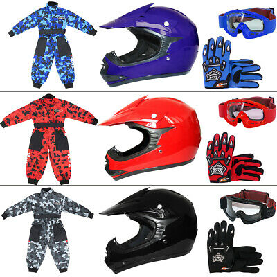 LEOPARD Kids Motocross Helmet Camo Race Suit ATV Bike Gloves Goggles Matt Gloss